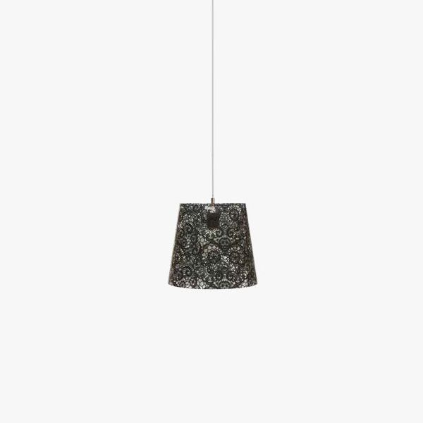Transparent polycarbonate suspension lamp, black colour, size M