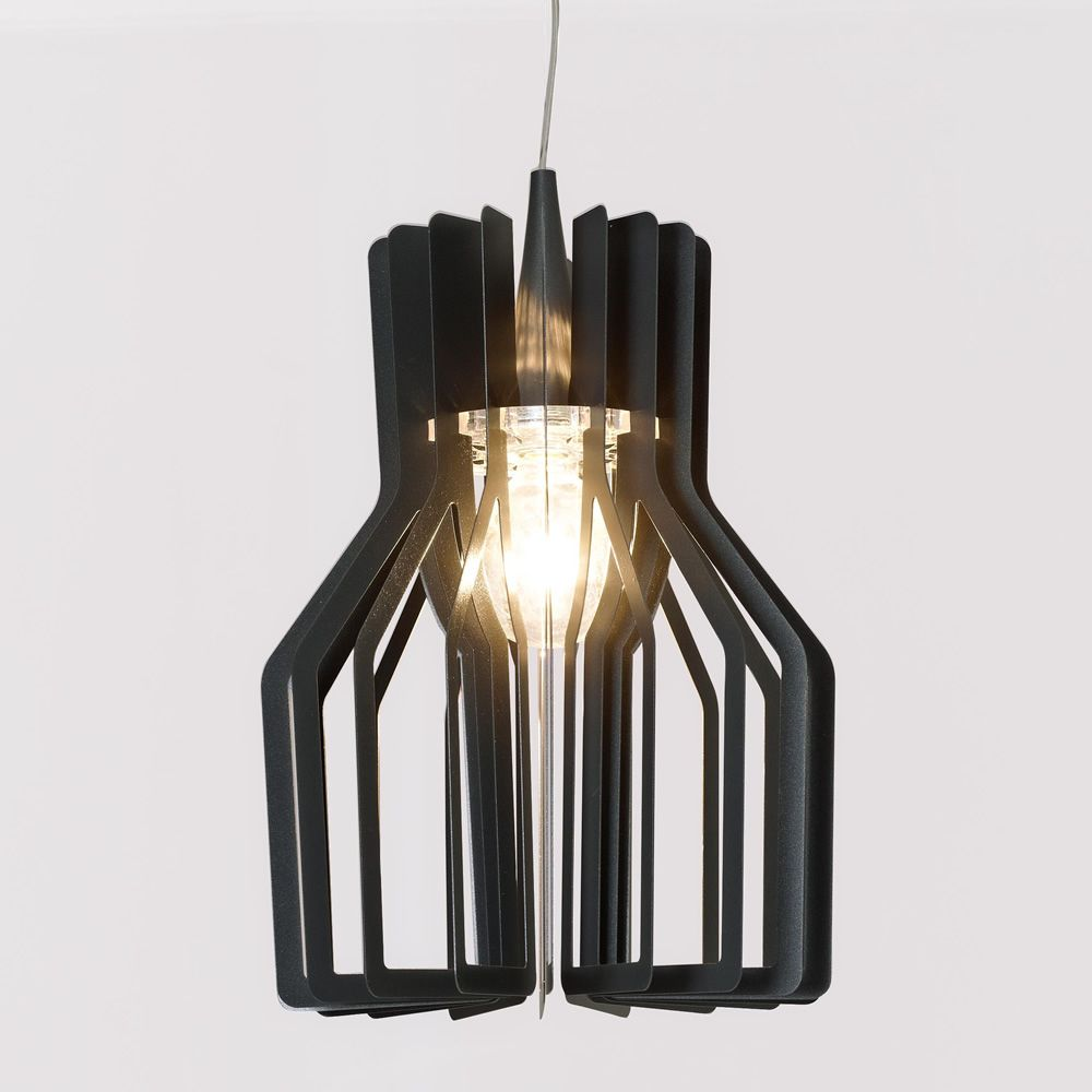 Design suspension lamp, anthracyte varnished metal