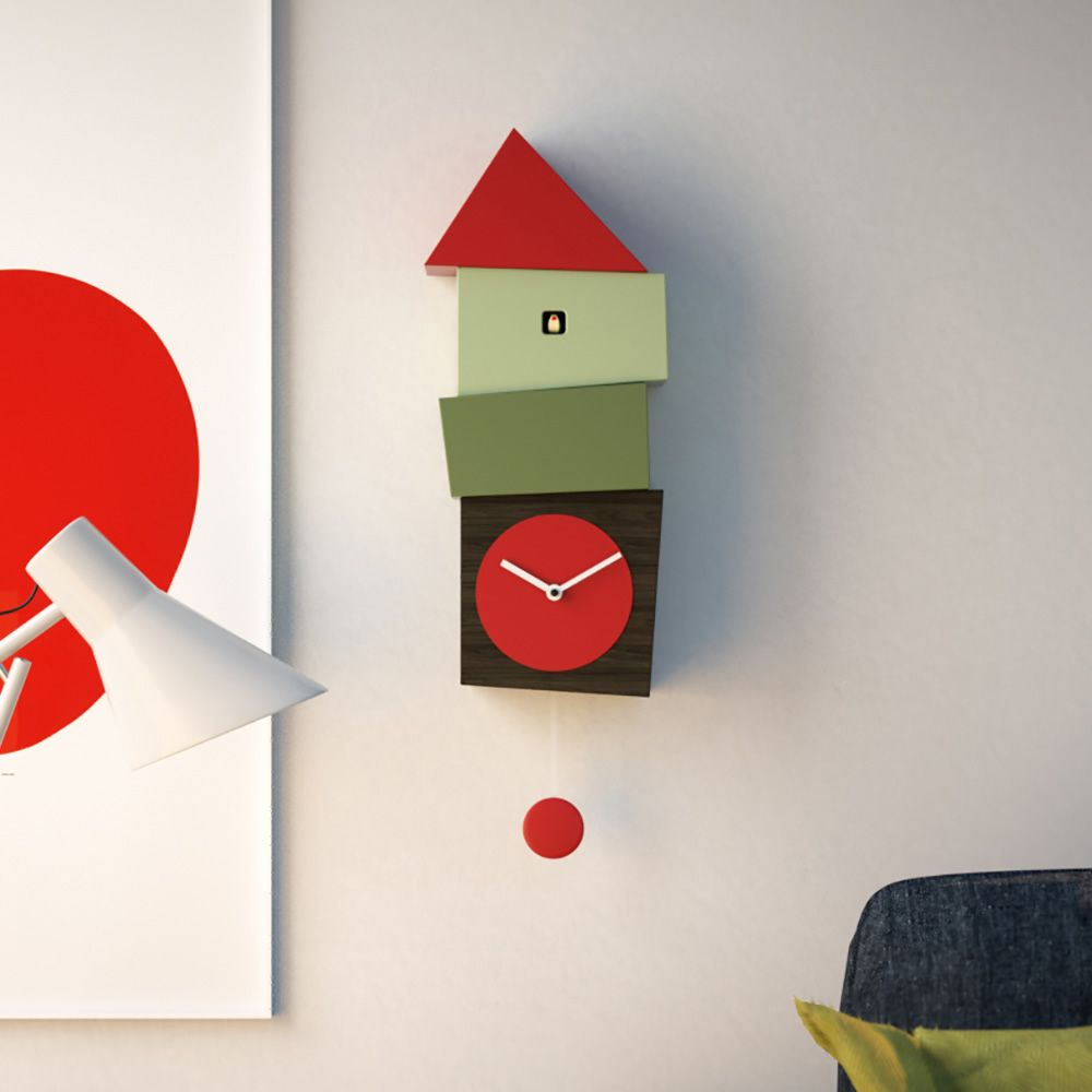 Wall cuckoo clock made of wood, with red round clock face
