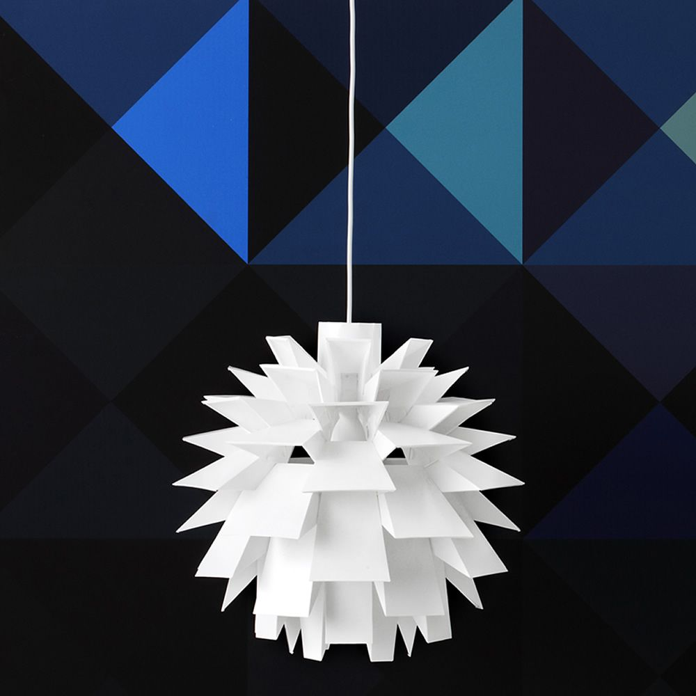 Pendant lamp made of plastic material in white colour, two different sizes available