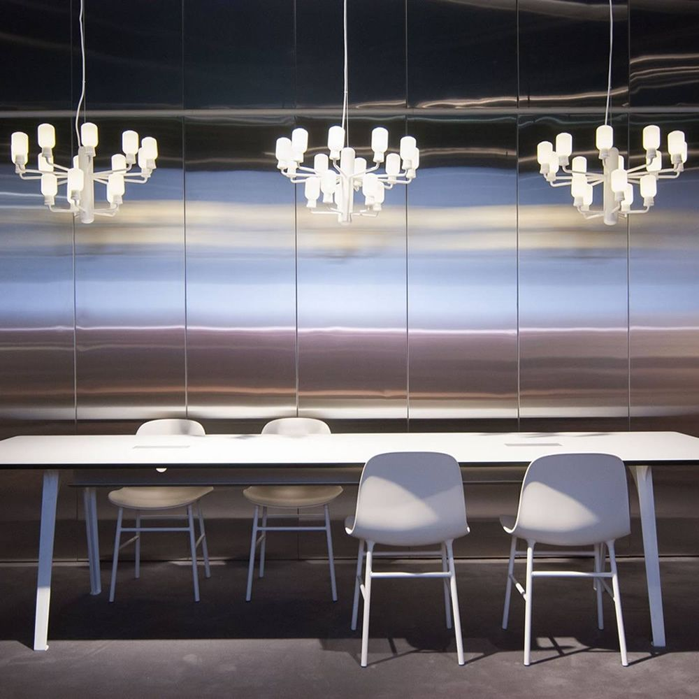 Pendant lamps with white varnished structure, lights with white marble base and lampashade in opal white glass