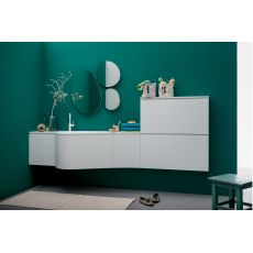Versa B - Bath cabinet with top and integrated sink in Korakril™, deep drawer, doors and shoe rack, available in several colours