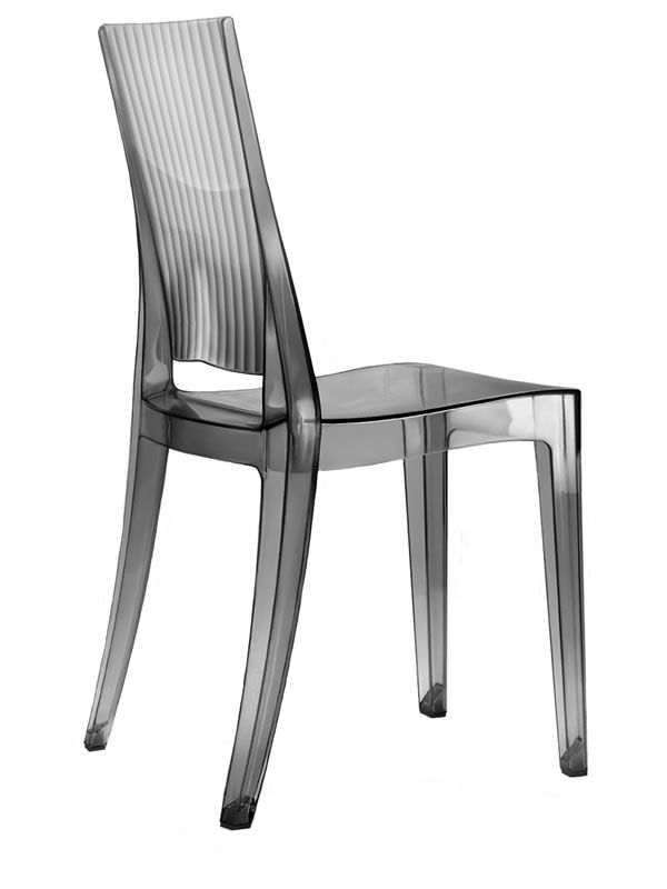 Polycarbonate chair, in smoked grey