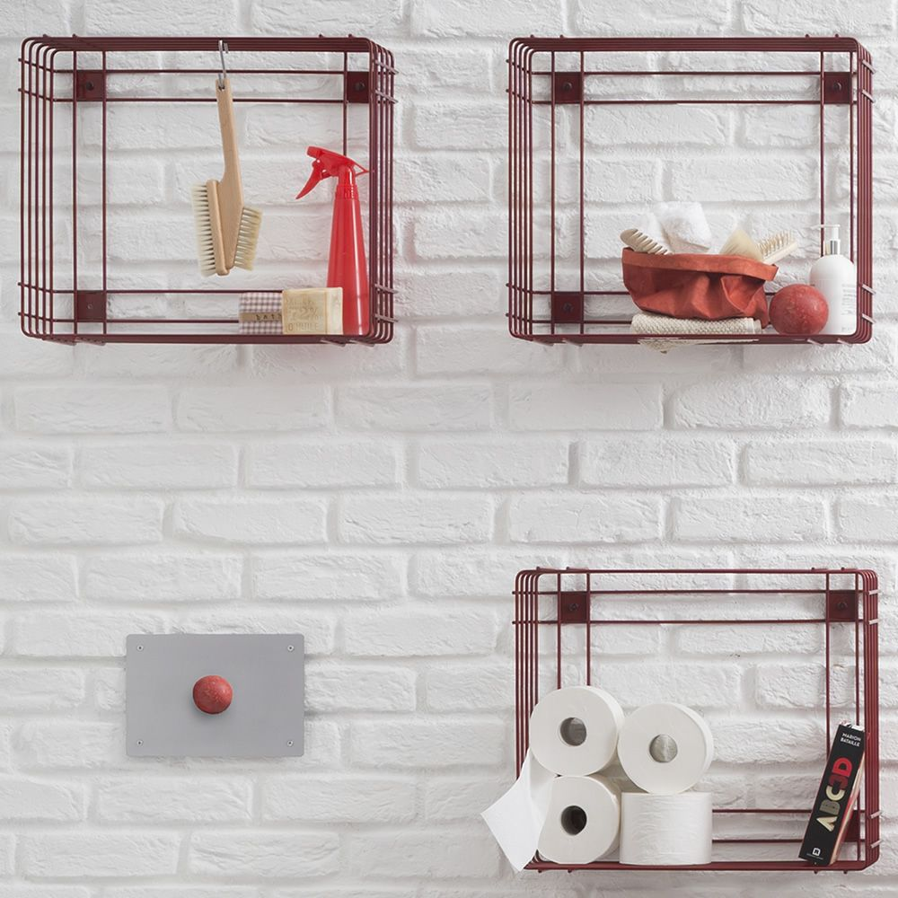Drying racks wall unit 50 x 50 cm (L-large), red colour