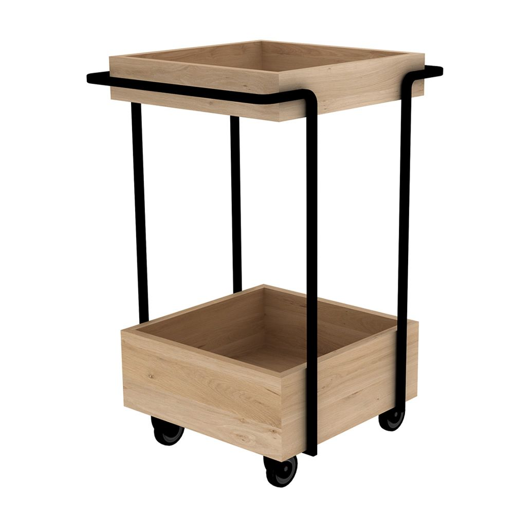 Bar cart made of black varnished metal with trays in natural oak wood, with wheels