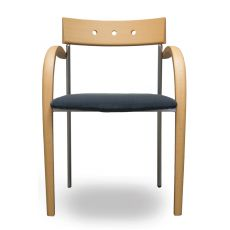 Equinox - Design wood chair by Tonon,  with wooden and metal structure, padded seat with fabric upholstery