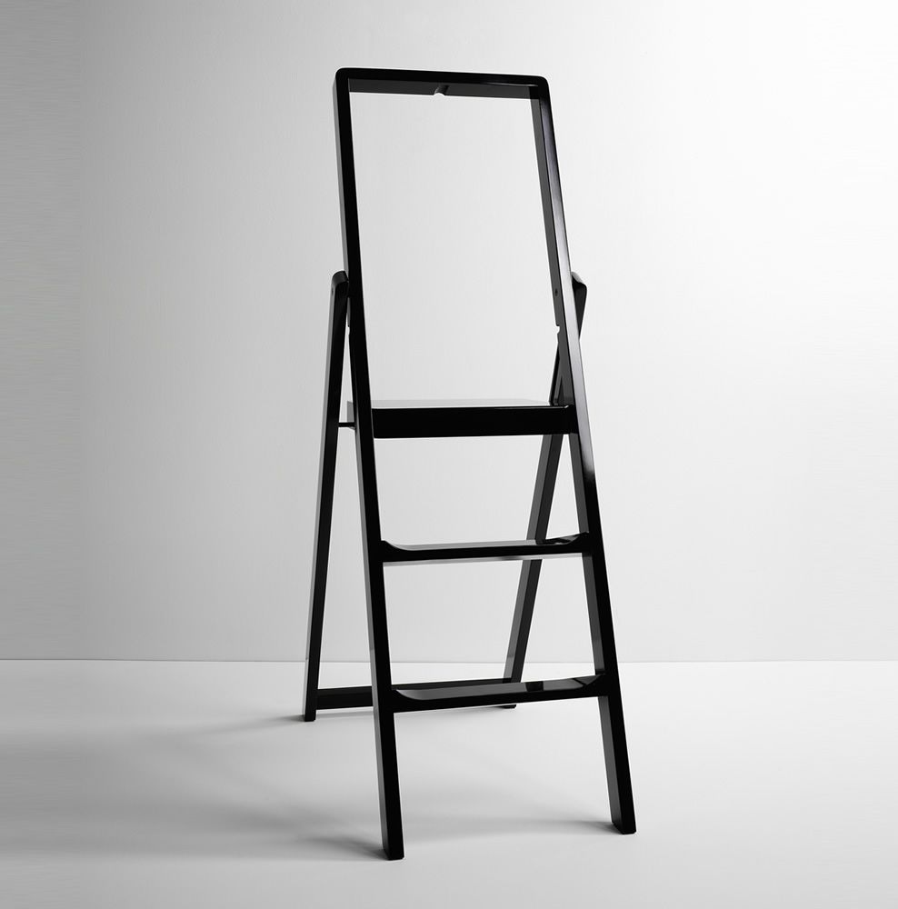 Folding stepladder made of black lacquered beech wood