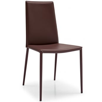CB1257 Boheme - Chair made of metal and bonded leather, coffee brown colour