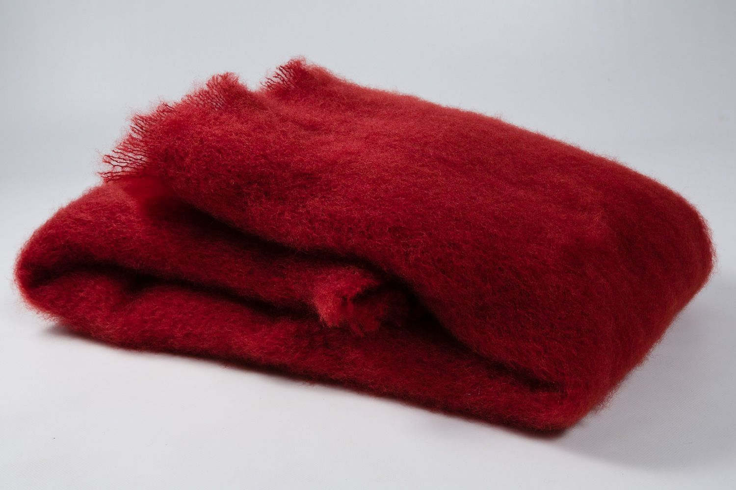 Handcrafted blanket in mohair and wool fabric