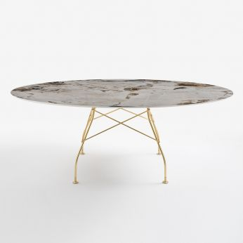 Glossy Marble - Oval table in gold varnished metal, top in Symphonie marble