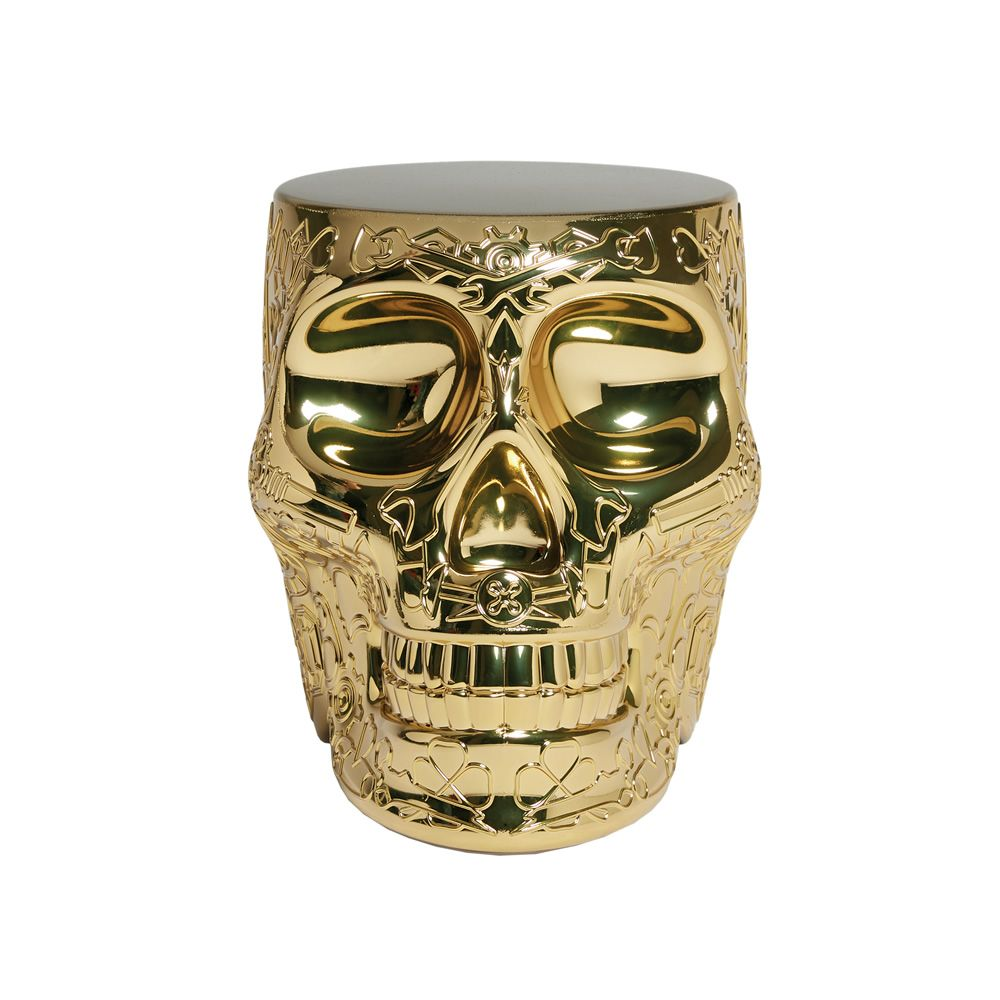 Skull shaped coffee table and stool, in polyethylene with gold metal finish, 45 cm high