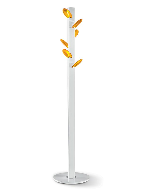 Coat-stand with white varnished steel structure, orange polycarbonate hooks