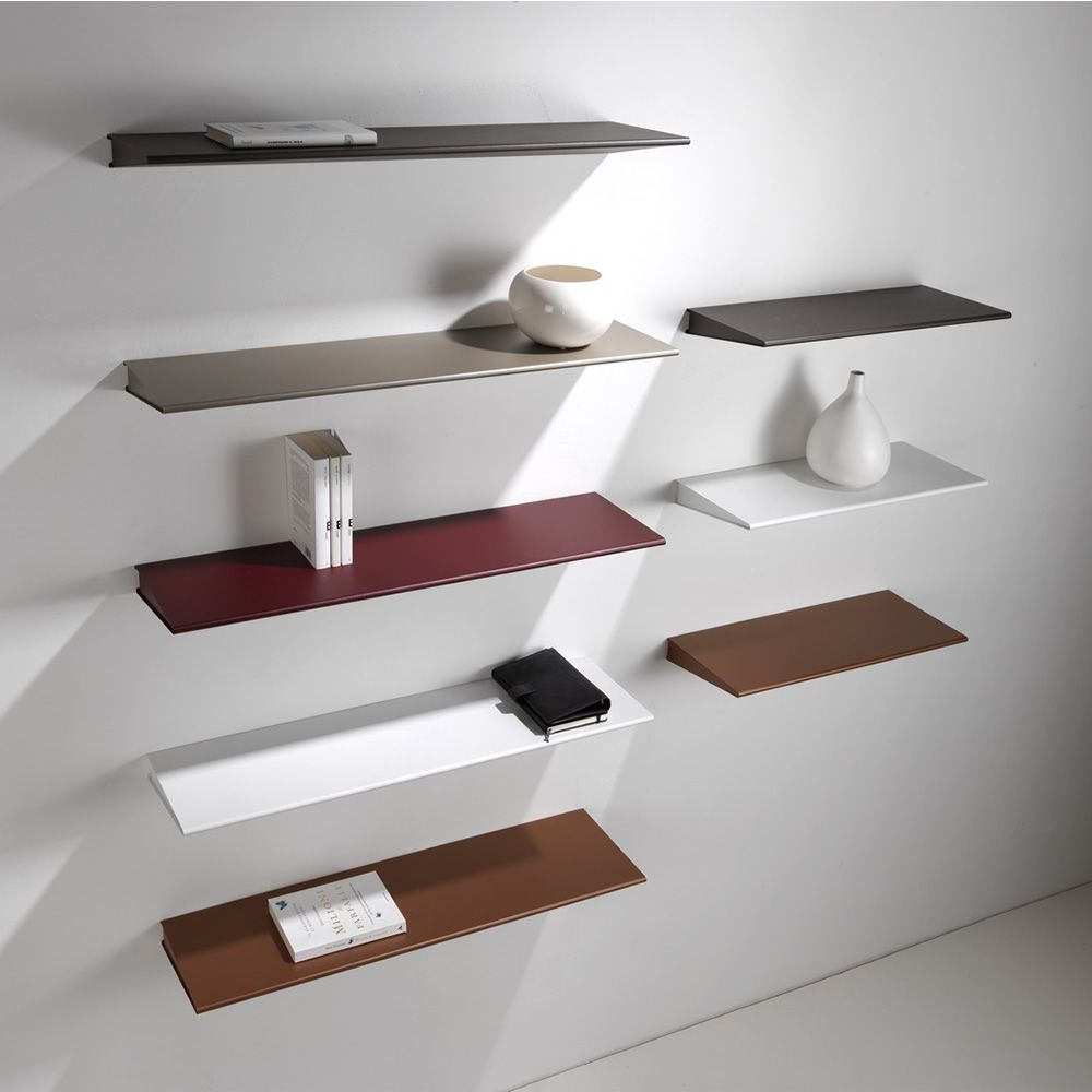 Shelves in varnished steel, different colours and sizes