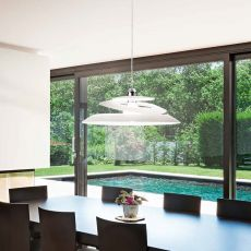 FA3357LS - Pendant lamp made of metal and plate glas