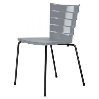 Bikini - Chair with back varnished steel structure, grey polypropylene shell