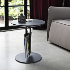 Alfred - Bontempi Casa design side table, with metal structure, wooden top
