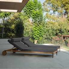 Cleo L - Modern sun longer in teak and aluminium, adjustable backrest, cushion wih removable covering