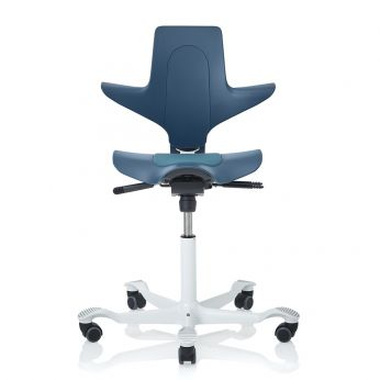 Capisco ® Puls Promo - Office chair in petroleum blue colour, white varnished aluminium base