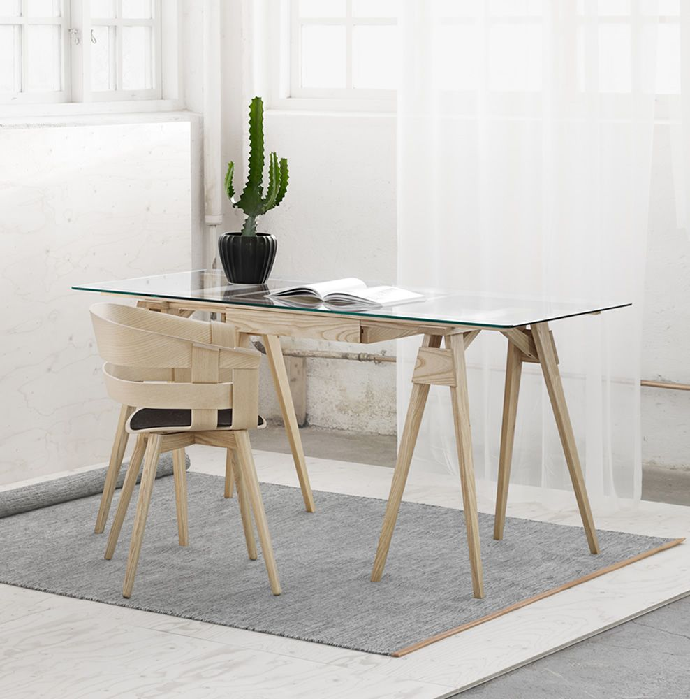 Writing desk made of ash wood, glass top, with drawer, matched with Wick-W chair