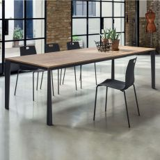 Tampa 42.77 - Extendable metal table, 190x100 cm top, available in several finishes