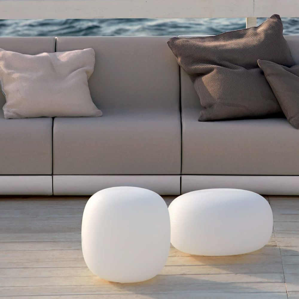 Stool - pouf made of Poleasy®, white colour, different sizes available, also for outdoor