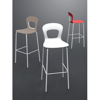 Blog S - Modern metal bar stools, dove, white and red colour