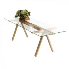 Traverso Sbalzo - Valsecchi table made of wood with glass or HPL top, fixed 240 x 86 cm