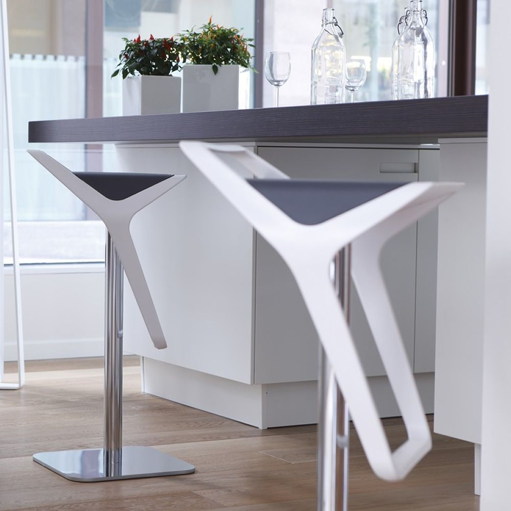 Modern stool in white colour, with grey seat