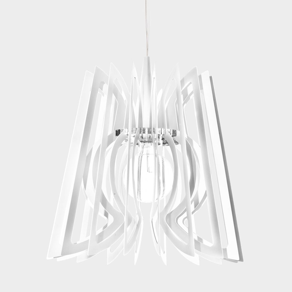 Pendant lamp in white varnished steel
