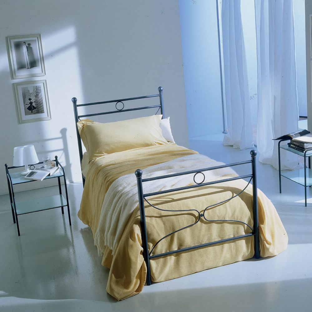 Iron single bed in cobald blue coated finish