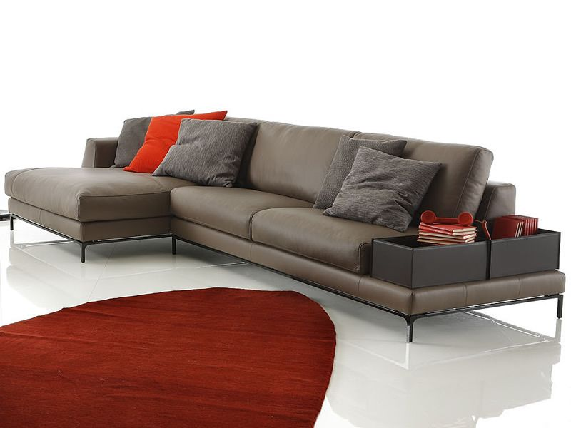 3 seater XL sofa with chaise longue and two boxes in bonded leather, with basement (available on request)