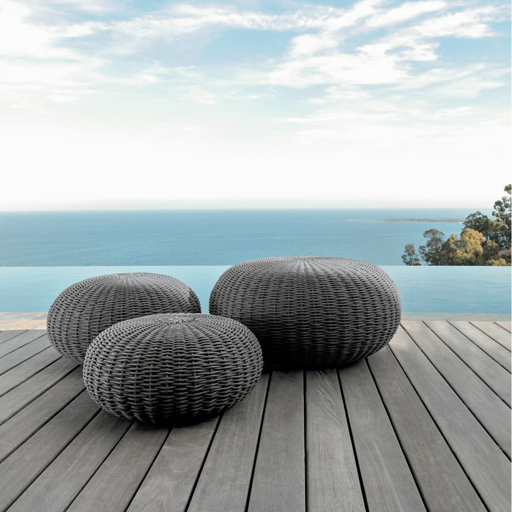 Pouf for outdoor with dark grey fabric (Size: S, M, L)
