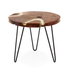 Bangui - Design coffee table with metal frame and top in natural teak wood