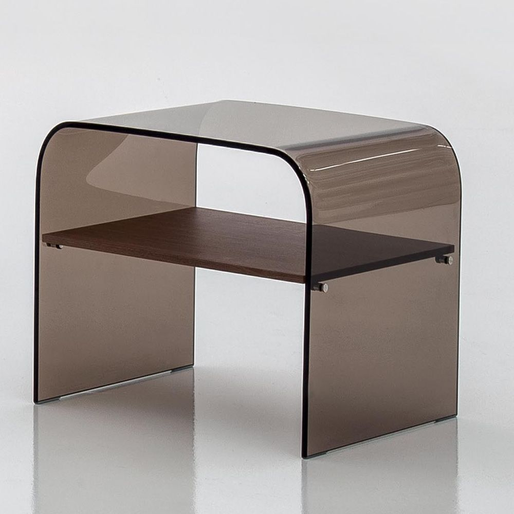 Coffee table-night stand made of transparent bronze glass with wooden shelf, Canaletto walnut finish (on request)