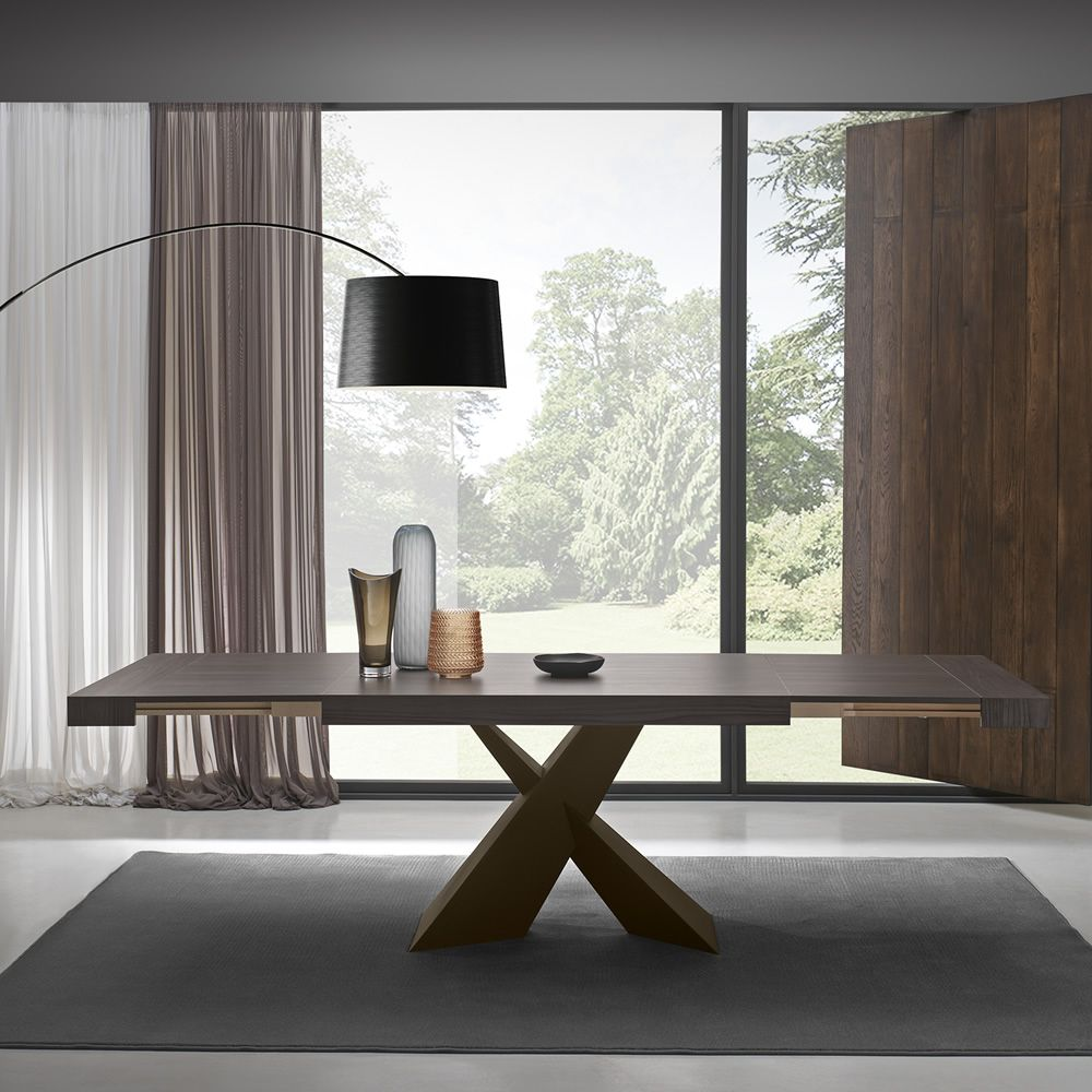 Corten varnished metal table, with thermal-treated walnut melamine top