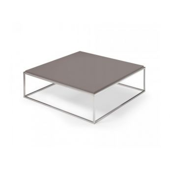 Lamina Q - Coffee table with dove grey laminated top