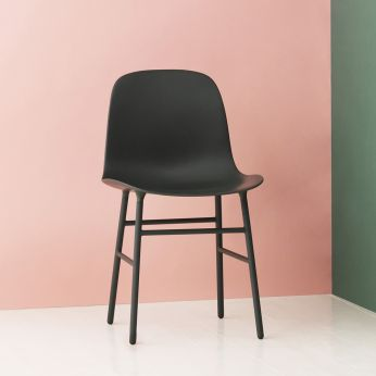 Form - Chair made of lacquered metal with polypropylene seat, black version