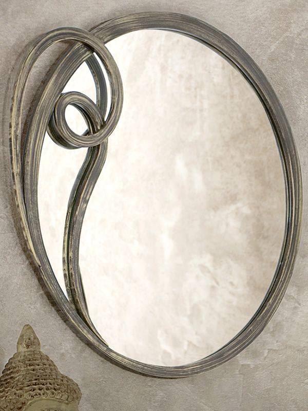 Wrought iron mirror varnished in brown with antique golden effect