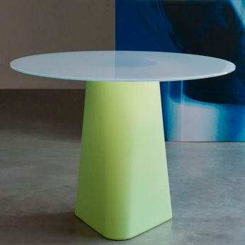 Adam 100 - Pastel green polyethylene table for outdoor, with white crystal glass top