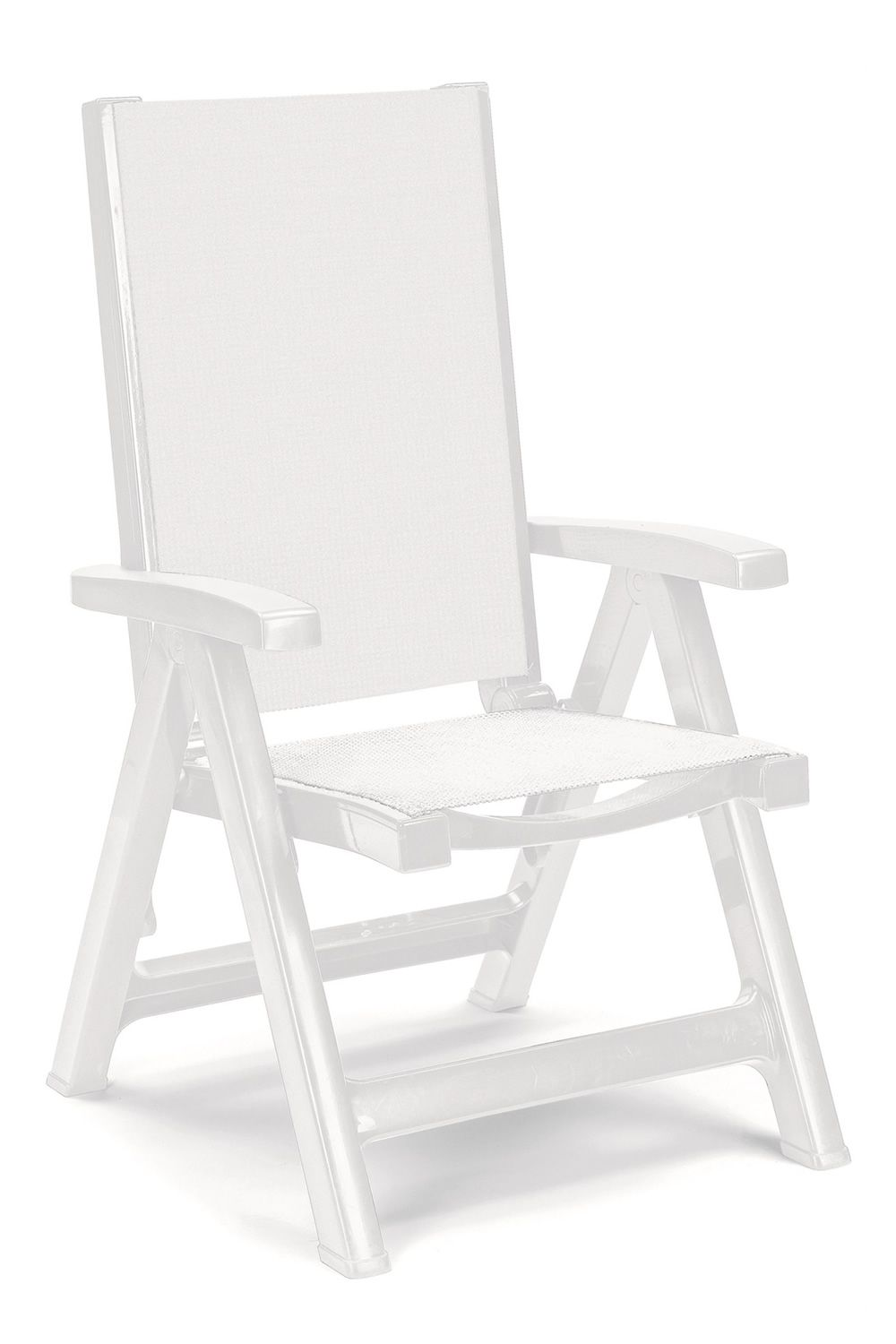 Deckchair, in white polypropylene, with white fabric