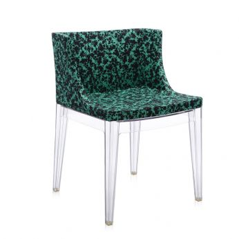 Mademoiselle Memphis by Sottsass - Transparent polycarbonate armchair, covered in green Schizzo fabric