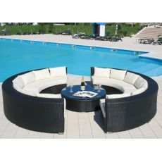 Atollo - Outdoor garden set, with two semicircular sofas and small round table, aluminum and synthetic rattan