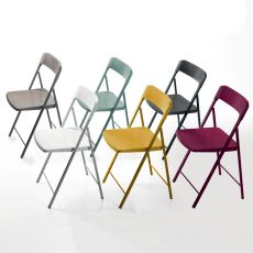 Zeta - Folding chair in metal with seat and backrest in polypropylene