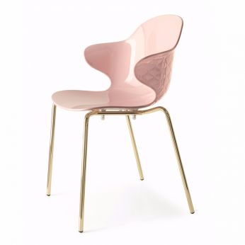 CS1845 Saint Tropez - Chair in brass metal, with polycarbonate seat, face powder rose colour