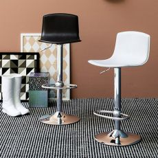CB1345 Egg - Connubia - Calligaris swivel metal stool, adjustable in height, regenerated leather seat