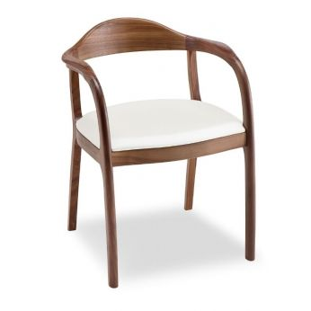 Timeless - Modern chair with wooden structure and leather seat by Tonon