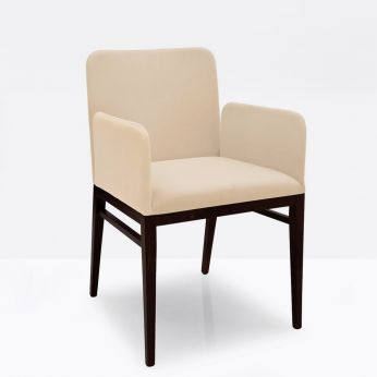 CB1649 Miami Outlet - Wengè beech armchair with imitation leather covering in noisette colour