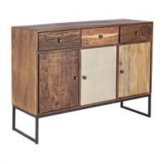 Abuja 3A-3C - Vintage sideboard for living room, made of wood with iron legs, with doors and drawers