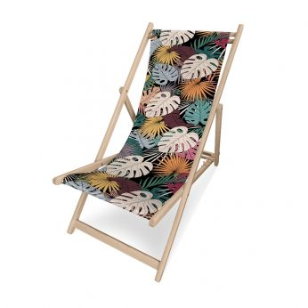 Chilienne Nat - Pôdevache folding deckchair in pronted polyesther fabric, Rainbow Leaves pattern