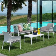 Net Table - Polypropylene low table, 100x60cm, also for garden